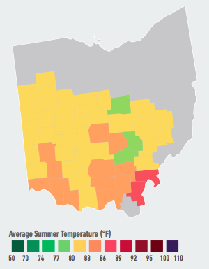 On our current emissions path, residents of Cincinnati, Columbus, and Dayton will see the average number of days over 95°F per year likely increase from 2 over the past 30 years to 5 to 14 likely within the next 5 to 25 years. Higher temperatures will likely raise electricity demand and energy costs, decrease labor productivity, and increase heat-related mortality and violent crime over the course of the century. Data Source: American Climate Prospectus.