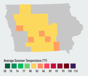 On our current emissions path, residents of Des Moines will see the average number of days over 95°F per year likely double to quadruple within the next 5 to 25 years. Among other effects, rising temperatures may affect Iowa's robust agricultural sector, resulting in reduced crop yields. By end of century, the state could face likely declines in its signature corn crop of 17% to 77% – unless farmers employ new adaptive practices. Data Source: American Climate Prospectus.