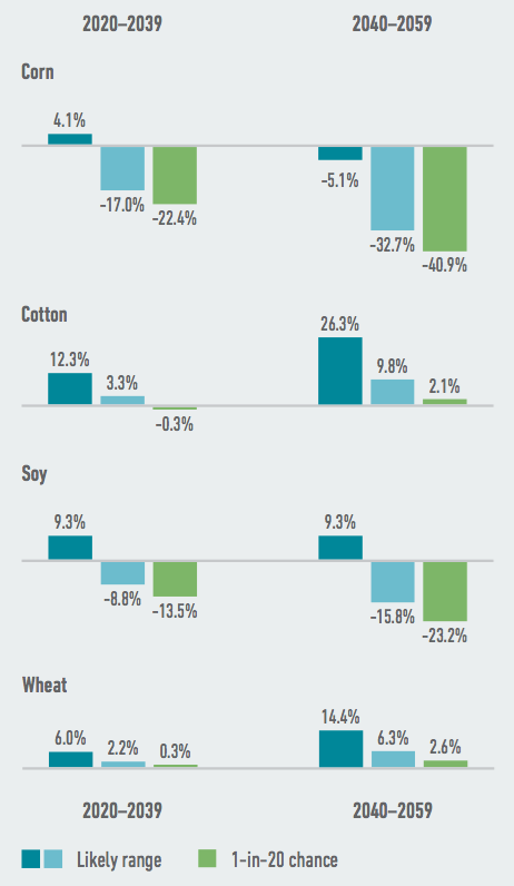 Several of Virginia's largest commodity crops face steep potential yield declines as a result of climate change. By mid- century, the state's corn crop is likely to be reduced by as much as one-third. Source: American Climate Prospectus.