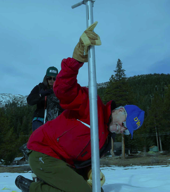 Official surveying winter snowpack at Echo Summit, California.