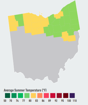 On our current emissions path, residents of Cleveland and Toledo will start to see multiple days per year over 95°F, with 2 to 5 such days likely within the next 5 to 25 years. Higher temperatures will likely raise electricity demand and energy costs, decrease labor productivity, and increase violent crime over the course of the century. Data Source: American Climate Prospectus.