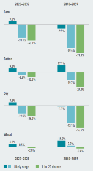 Several of Arkansas' largest commodity crops face steep potential yield declines as a result of climate change. By mid- century, the state's corn, cotton and soy crops are likely to be reduced by as much as one-fifth to one-half. Source: American Climate Prospectus.