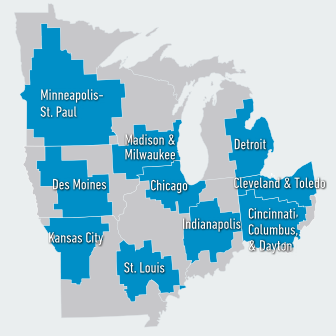 """The 10 metro region clusters (blue) are based on the U.S. Department of Commerce's """"cluster mapping"""" project and encompass the relevant regional markets surrounding the metro areas. Data Source: Rhodium Group."""