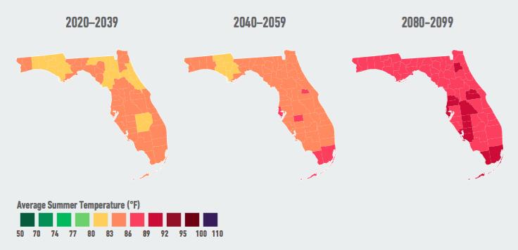 Average Summer Temperature. Source: American Climate Prospectus.