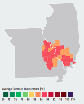 On our current emissions path, residents of St. Louis will see the average number of days over 95°F per year likely double to quadruple within the next 5 to 25 years. The largest increases in electricity consumption will also occur in St. Louis, resulting in a 4 to 15% likely increase in energy costs by mid-century. Data Source: American Climate Prospectus.