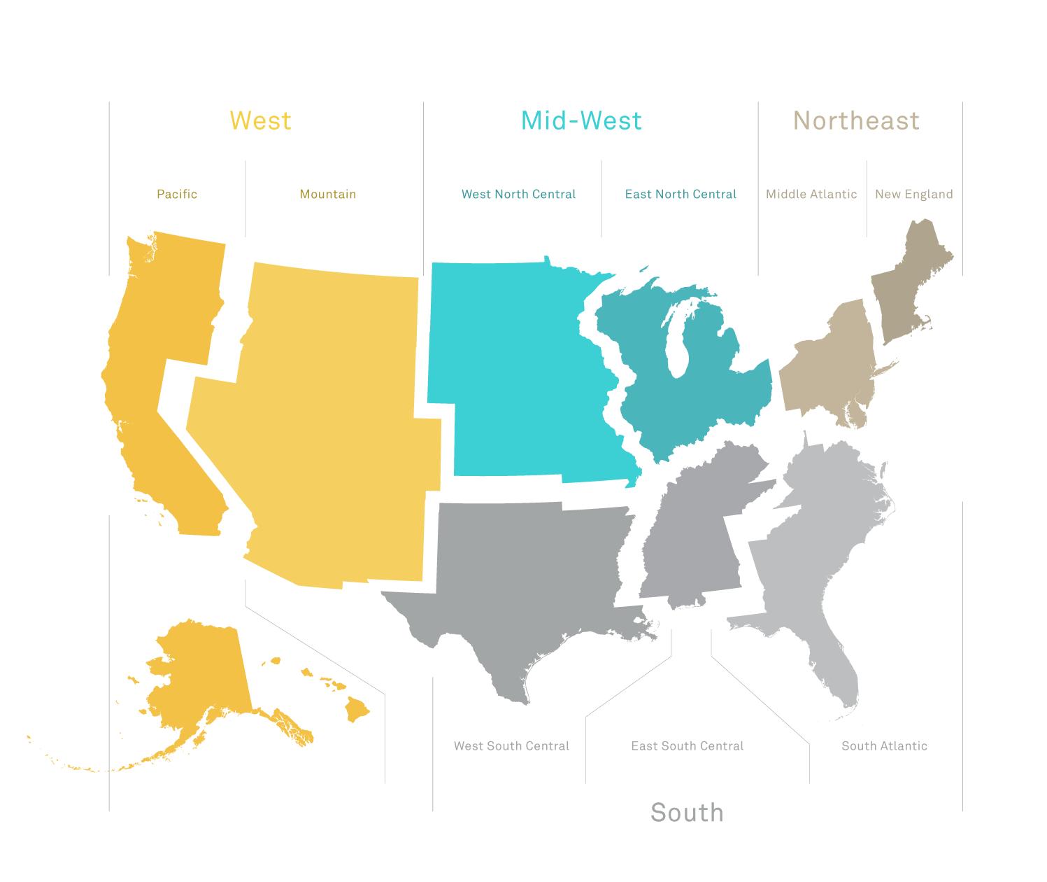 Nine U.S. Census Divisions